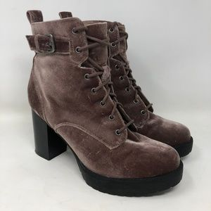 Madden Girl Velvet High Heeled Combat Boots 8.5
